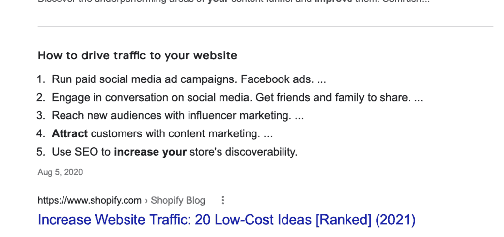 example of page seo featured snippet that keeps people on google instead of going to the website how google steals traffic