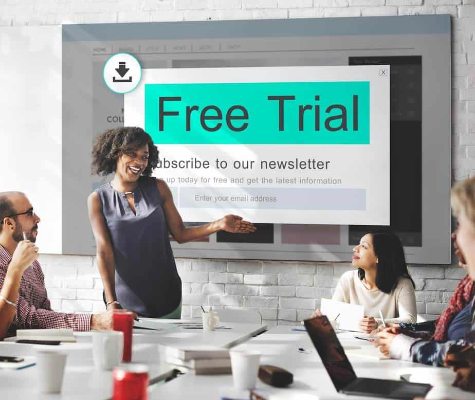 people in meeting talking about a free trial
