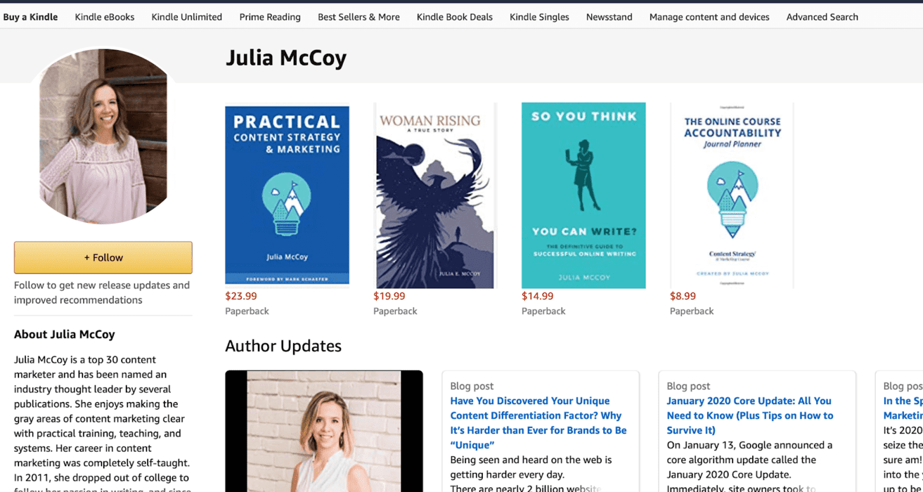 amazon author page for Julia McCoy and multiple books