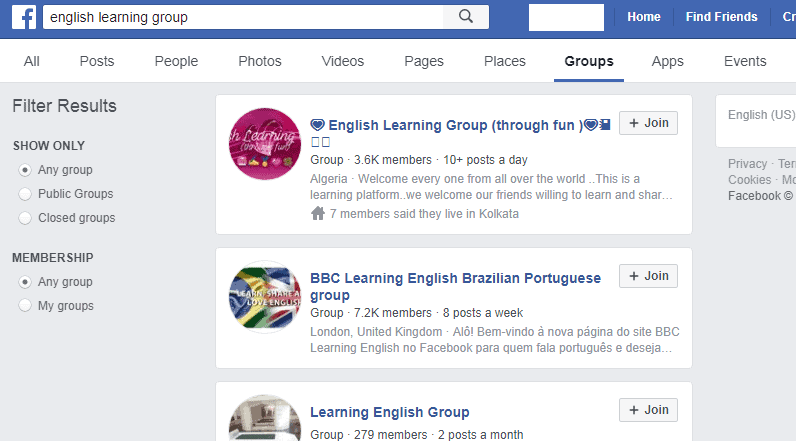 example of online community on facebook