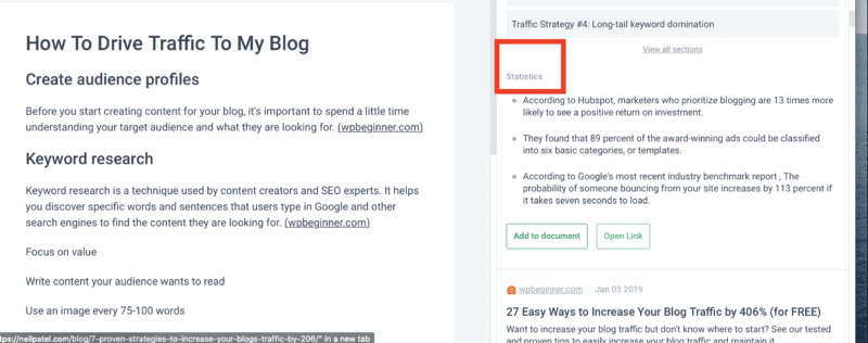 Frase review -- Frase pulls statistics from relevant articles that you can use in your content