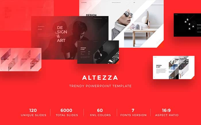 bright red altezza powerpoint template design for presentation