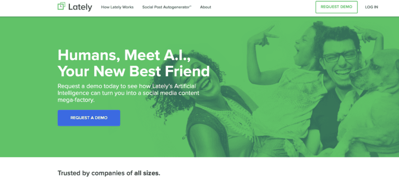 lately AI social media scheduling tool home page