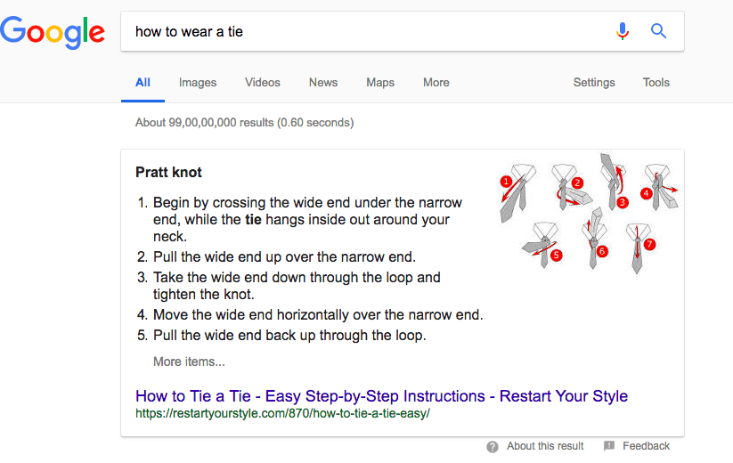screenshot of google featuring answers to questions so you don't leave the page
