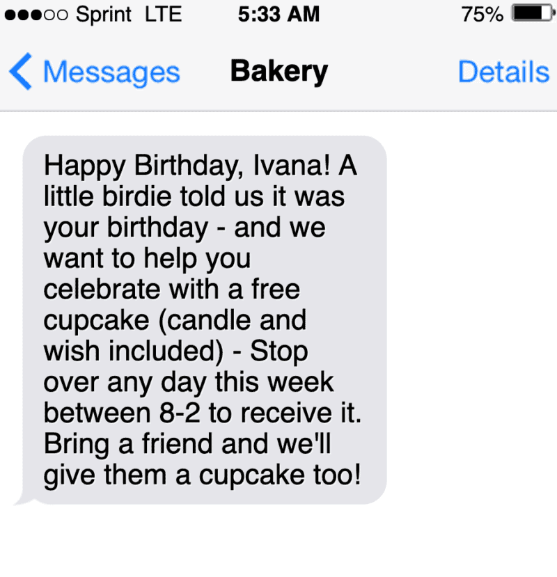 sms text marketing message example for birthday offer