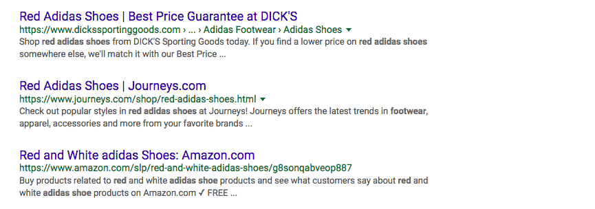 screen shot of google search for Adidas shoes