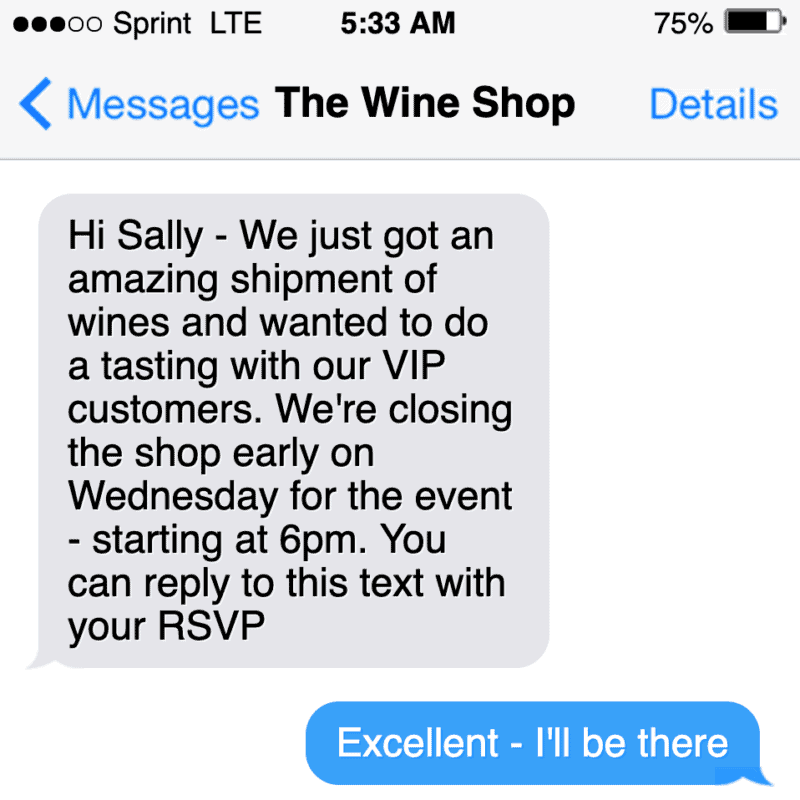 sms text marketing example for a private event invitation