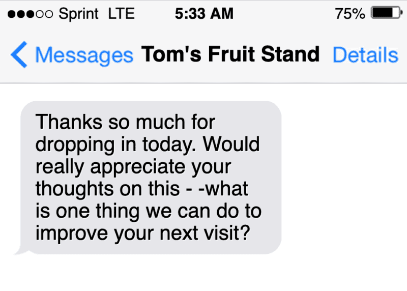 sms text message marketing example gathering feedback from customers