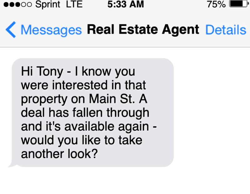sms text marketing message example of a follow up message real estate