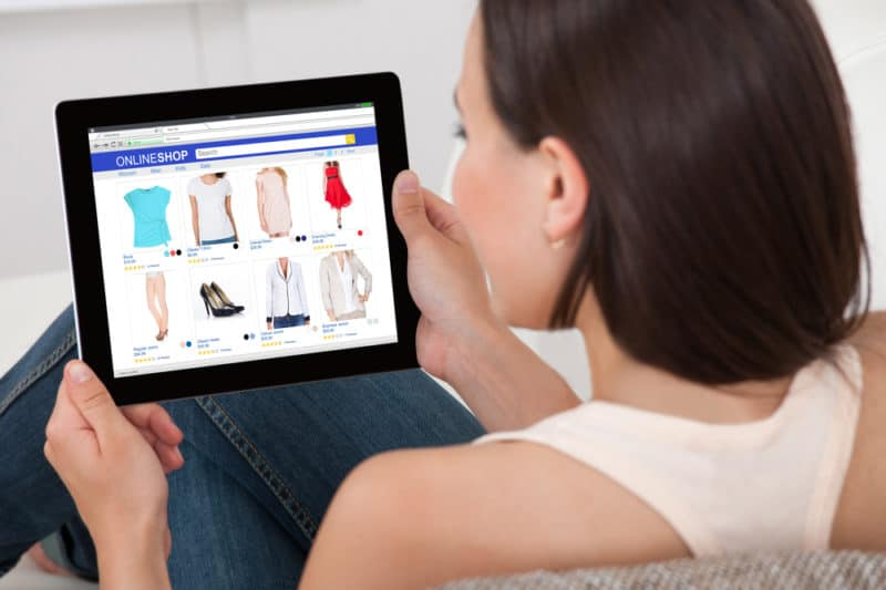 small business woman using shopify on ipad