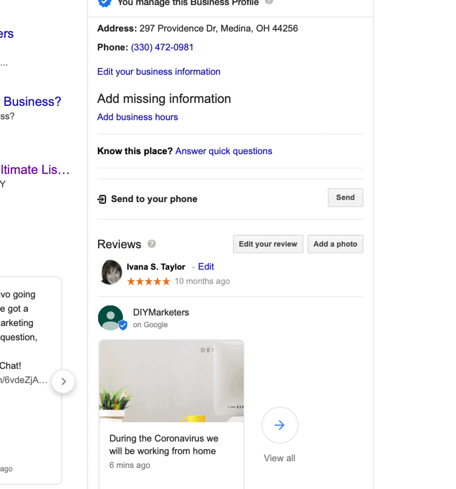 example of using google my business to update customers