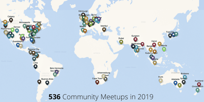 a map of Zoho meetups all over the world