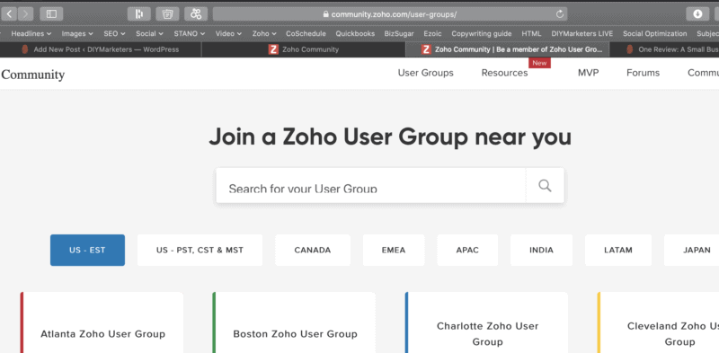 Join Zoho user group webs page