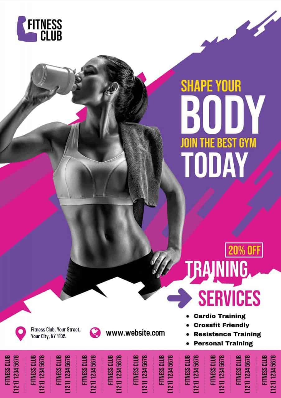 PosterMyWall example of flyer with tear-off tabs for fitness business