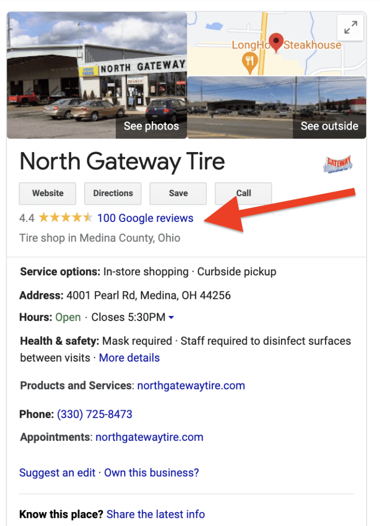 Google listing for North Gateway Tire they get referrals from this listing