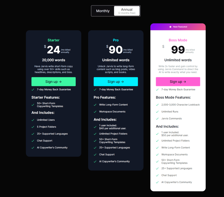 Jarvis pricing table