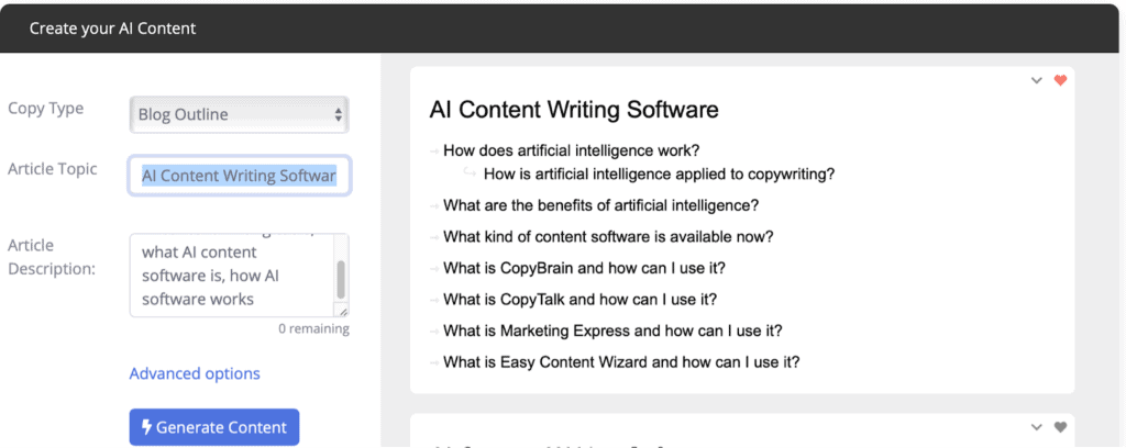 contentbot blog post outline example